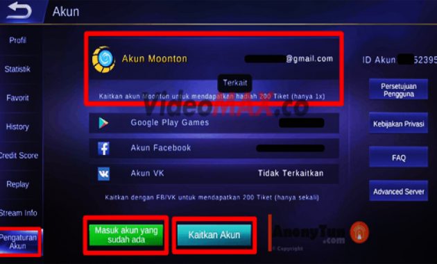 Akun Moonton di ML